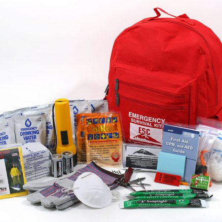 Various products and kits offered by the Earthquake Supply Center in San Rafael, California.